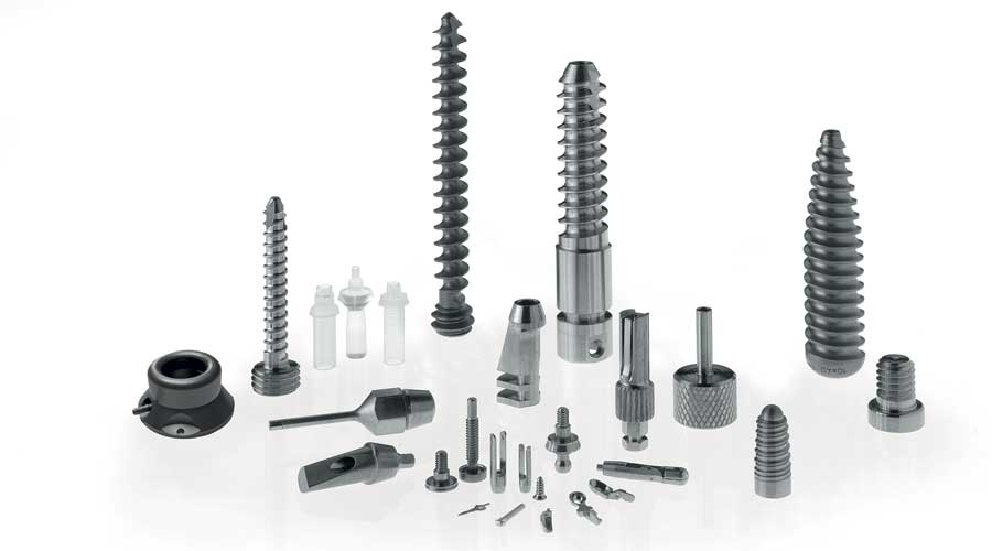 Dental implants and parts, trauma screws, port implantable system and biopsy forcep components